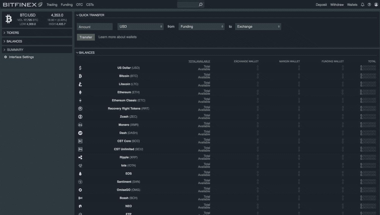 Bitfinex storten en uitbetalen screenshot
