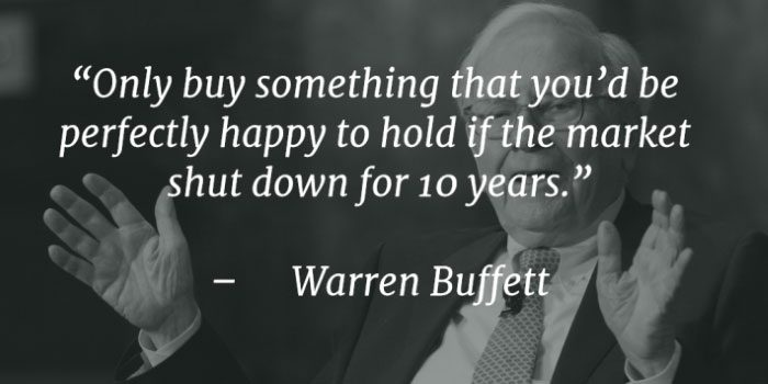 Long Term Investing quote Warren Buffet