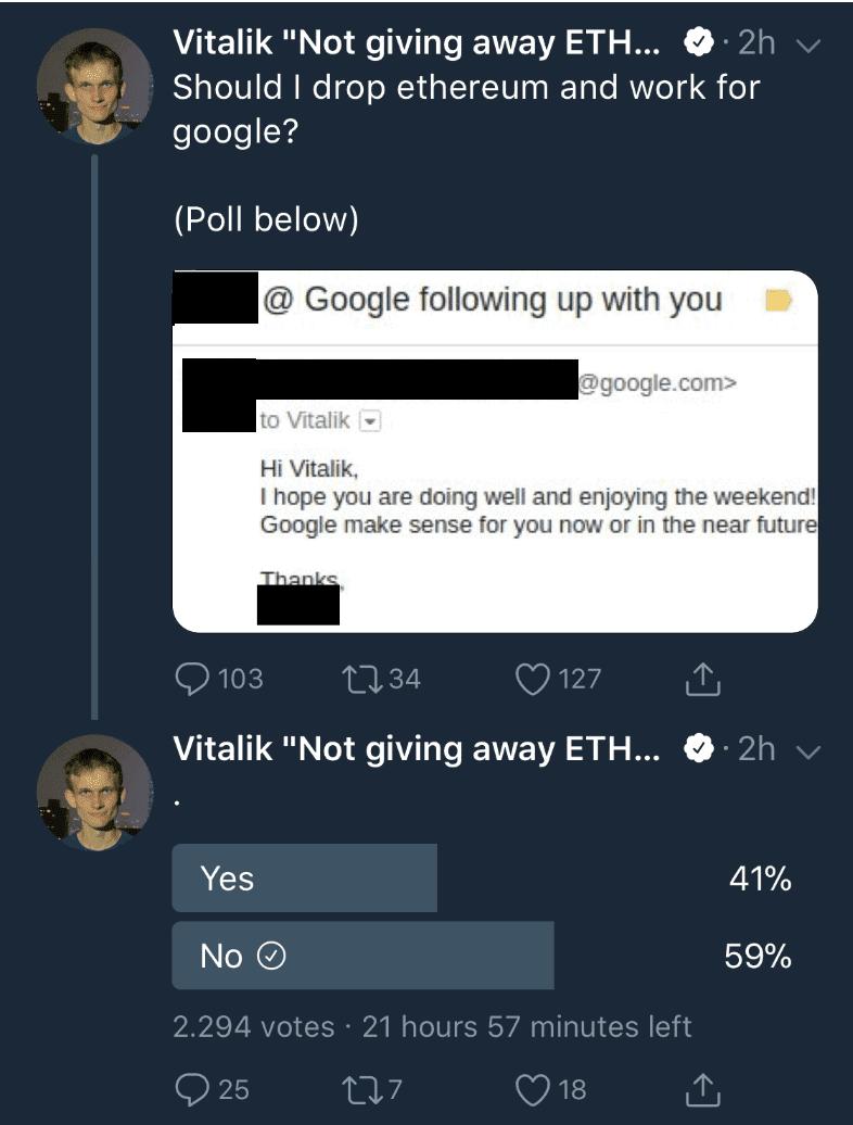 google_benaderd_vitalik_buterin_ethereum_twitter_bericht