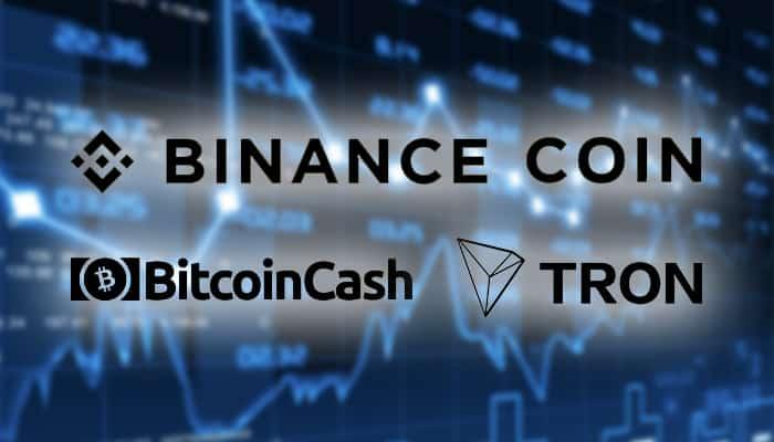 bitcoin_cash_BCH_en_binance_coin_BNB_stijgen_door_TRON_TRX_zakt_terug