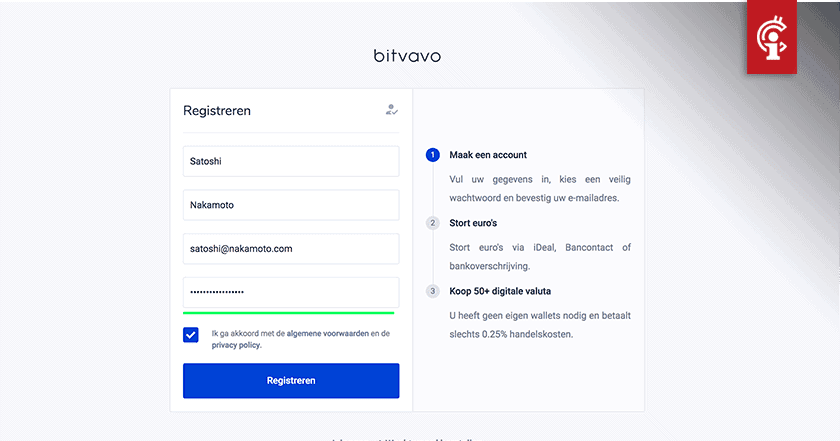 Bitvavo account aanmaken (review)