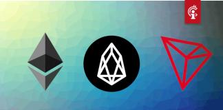 EOS op gebied van gebruikersaantallen en transacties de grootste ten opzichte van TRON en Ethereum